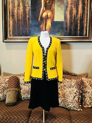 Vintage ADOLFO Knit Yelliw Black White Jacket Skirt Suit For Saks Fifth Ave S/M