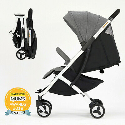 Allis Baby Lightweight Pram Buggy Travel Pushchair Stroller Carry Bag Plume Grey