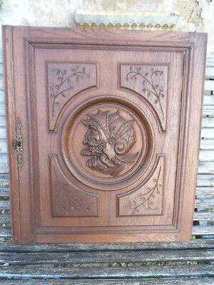 French Antique Gothic Carved Wood Wall Panel // door oak-Soldier  Antiquity N°2