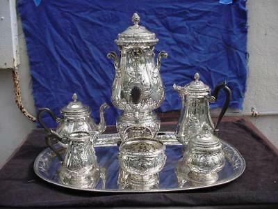 Johann S Kurz Hanau Germany 800 Silver 7 Piece Coffee & Tea Set Cherubs Embossed