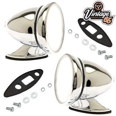 Classic Car Racing Bullet Style Chrome Adjustable Flat Glass Wing Door Mirrors