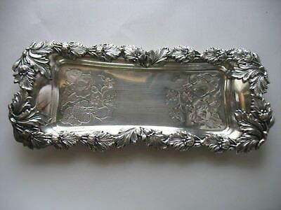 Vtg SILVERPLATE SILVER ON COPPER Candle snuffer or desk pen holder tray Floral