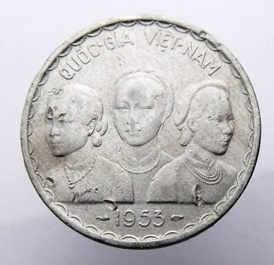 Vietnam State Of South Viet Nam 50 Xu 1953 Km# 3 - 3 Busts And Dragon Rare Coin