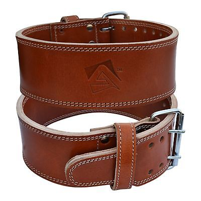 AQF Cow Hide Leather Weight Lifting Belt Powerlifting Belt Back Support Brown