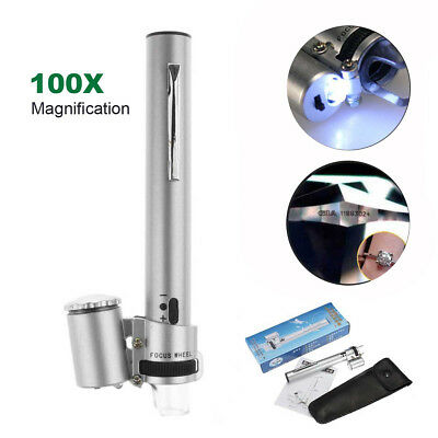 Magnifier 100X Magnification Pocket Zoom Jewelry Microscope Loupe with LED Light