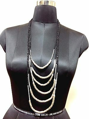 Black Silver Chain Vintage Ethnic Antique Style Fashion Jewelry Necklace