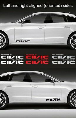 "#0322 -2pcs Powered by CIVIC 15"" wide Vinyl Decal Sticker Logo Graphic for Honda"