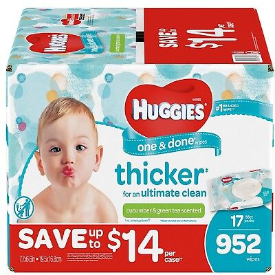 Huggies One & Done Baby Wipes Scented (952 ct.) TripleClean Layers Fast Shipping