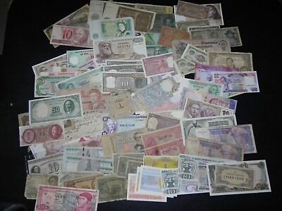 Currency mixed lot of over 100 bills from all over the world, JCcug 18293