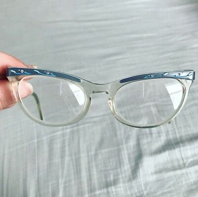 Vintage Shuron Cat Eye Glasses Specs Frames 50s Rhinestone Ladies Womens Retro