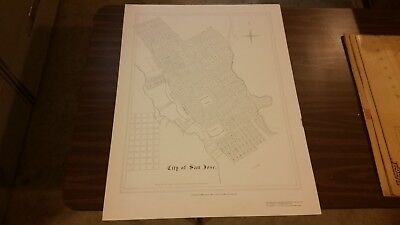 1850 Map of San Jose, CA(Reproduction print produced in 1972)