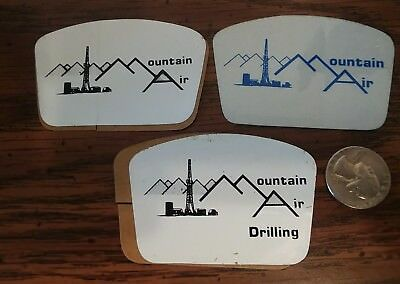 3 Vintage Mountain Air Drilling Oilfield Oil Gas Hard Hat Stickers