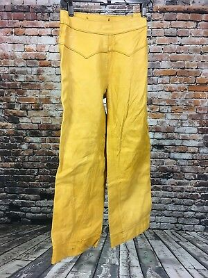 VTG 1970's Women's Leather Bell Bottom Leather Pants Hippie Suede 25 x 28 Native