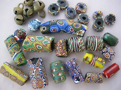 Vintage African Trade Beads, Millefiori Venetian Art Glass, Old Elbow Bead