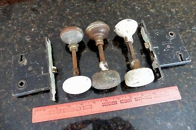 LOT Vintage door knob hardware wooden drum metal porcelain Norwalk Mortise locks