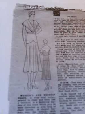 Antique sewing pattern Excella #3394-Ladies Dress 1920's