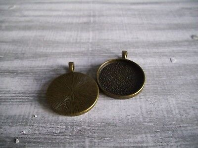 15 x 26mm Round Pendant Setting Base Blank Trays for Cabochons Antique Bronze UK