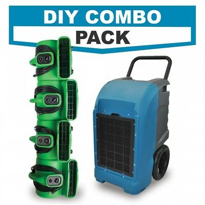 Water Damage Restoration DIY COMBO w/ Commercial Grade Dehumidifier & Air Movers