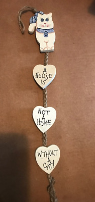 HOUSE NOT HOME WITHOUT CAT kitten country primitive wood cats wall decor sign