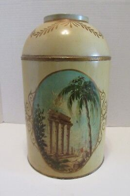 "Vintage French Tole Can Classical Scene Medallion Scrolls & Swags 13"" Tan/Gold"