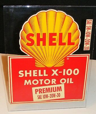 Shell GAS & OIL X-100 MOTOR OIL Decal Sign 1950's AUTHENTIC 1956 Applied