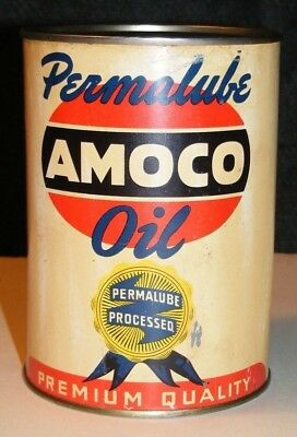 AMOCO MOTOR OIL CAN VTG PERMALUBE PROCESSED 1930 1940 American Oil Co AUTHENTIC!