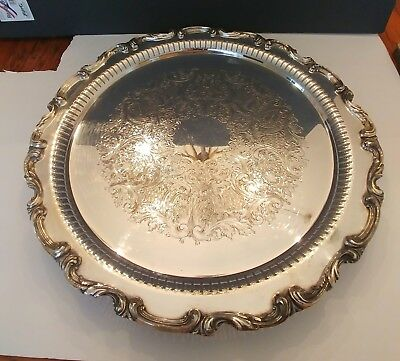 """SilverPlate Amston Round 17"""" Footed Tray"""