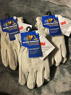 (3 Pair) Wells Lamont Mens Cold Weather Cowhire Work Gloves 1072L, Large