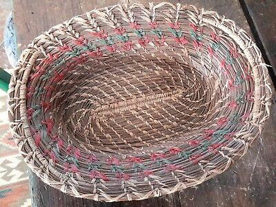 """Antique Basket Pine Needle Red Green Detail Woven Handles10 1/2"""" by 7 1/2"""""""