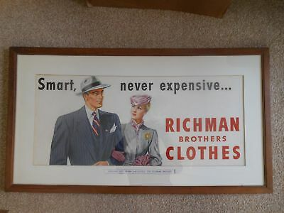 1940 50s Vintage Richman Brothers Clothing Sign Original Art Work Cleveland Ohio