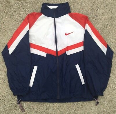 ade17c4670fd Vintage 80s 90s Nike USA Windbreaker Jacket Red White Blue Mens XXL 2XL  RARE Zip