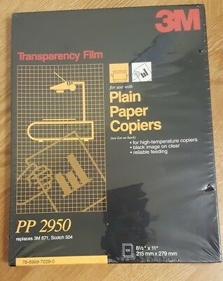 "3M Transparency Film For Copiers PP2950 100 Sheets Box 8.5"" x 11"""