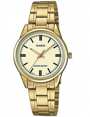 NEW Casio LTP-V005G-9A Women's GOLD-tone Stainless Steel Watch Analog Dial