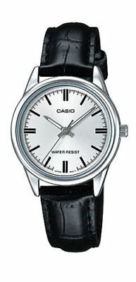 NEW Casio LTP-V005L-7A Women's BLACK Leather Watch Analog Dial Silver-tone Case
