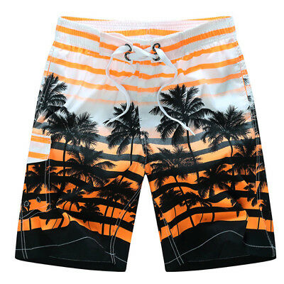 Mens Fashion Coconut Trees Printing Casual Losse Quick-drying Polyester Summer B