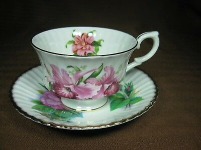 Paragon Bone China Ribbed Cup and Saucer Marriage Pink Flowers Gold Trim