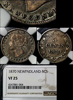 MARCH MADNESS - Newfoundland 5 cents - 1870 3 Dot Double Die Obverse RARE lx119c