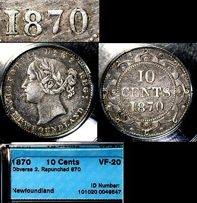 MARCH MADNESS - Newfoundland 10 cents - 1870 2 Dot Repunched 870 RARE lx119e