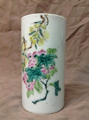 Old Chinese Porcelain Famille Brush Pot Small, Hangpainted