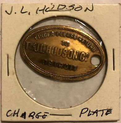 Detroit, Michigan, The J. L. Hudson Co., Charge PLATE TAG Coin Token brass