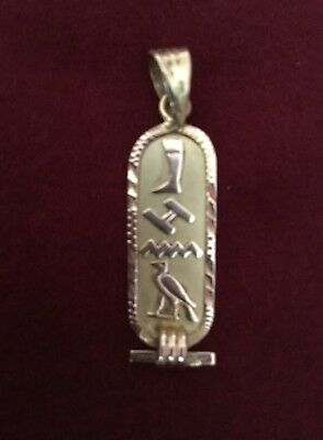 "Stamped Unique Rare Egyptian 1.25"" Cartouche Solid 18K Gold Pendant Unisex"