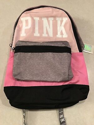 5be78d7b7d145 NWT VICTORIA'S SECRET Pink Campus Backpack Pink Gray Logo Full Size
