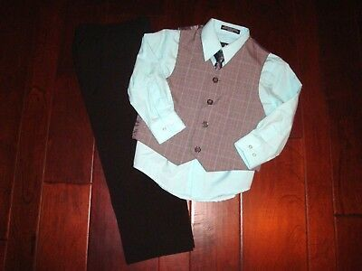 NEW Silver Label Sz 5 Black Grey Houndstooth 4pc Vest/Tie/Pants/Shirt Easter