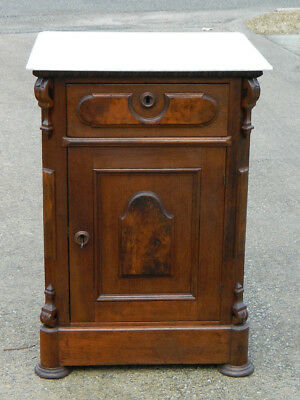 Walnut Victorian Half Commode Washstand~Marble Top circa 1865
