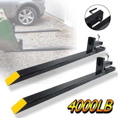 HD Clamp on Pallet Forks 4000lbs capacity Loader Bucket Skidsteer Tractor chain