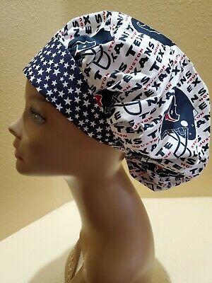 Houston Texans Bouffant Women's Surgical Scrub Hat/Cap Handmade