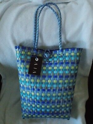 New Vivo Large Blue Weave Tote Bag