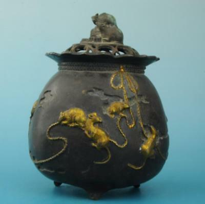 Antique china hand made gilding copper mouse incense burner old collect