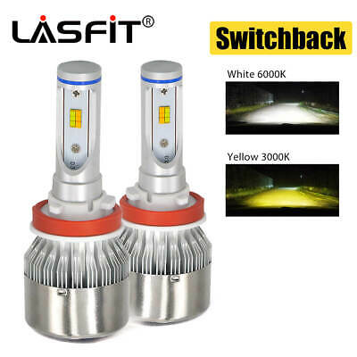 LASFIT Dual Color H11 LED Fog Light for Acura CSX 06-2011 ILX 13-2018 Switchback