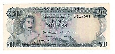 Bahamas Monetary Authority 1968 $10 Banknote EF